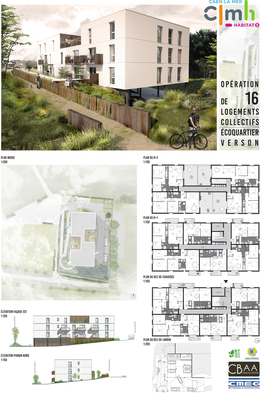 Cabinet D Architecte Caen construction de 16 logements collectifs - verson - cabinet